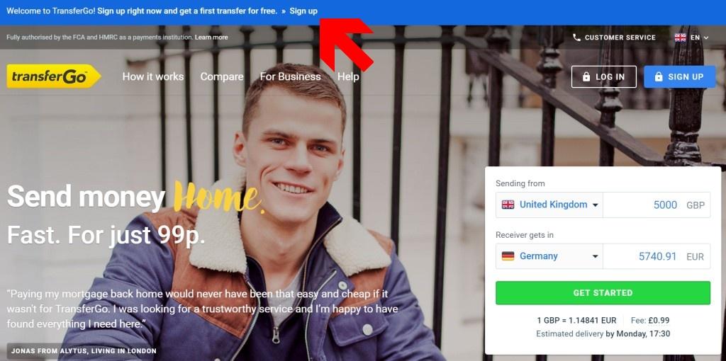 registrácia na stránke transfergo